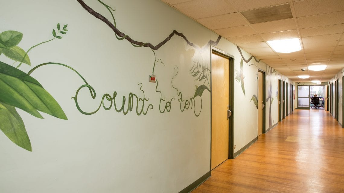 "The phrase ""count to ten"" painted onto the facility wall 